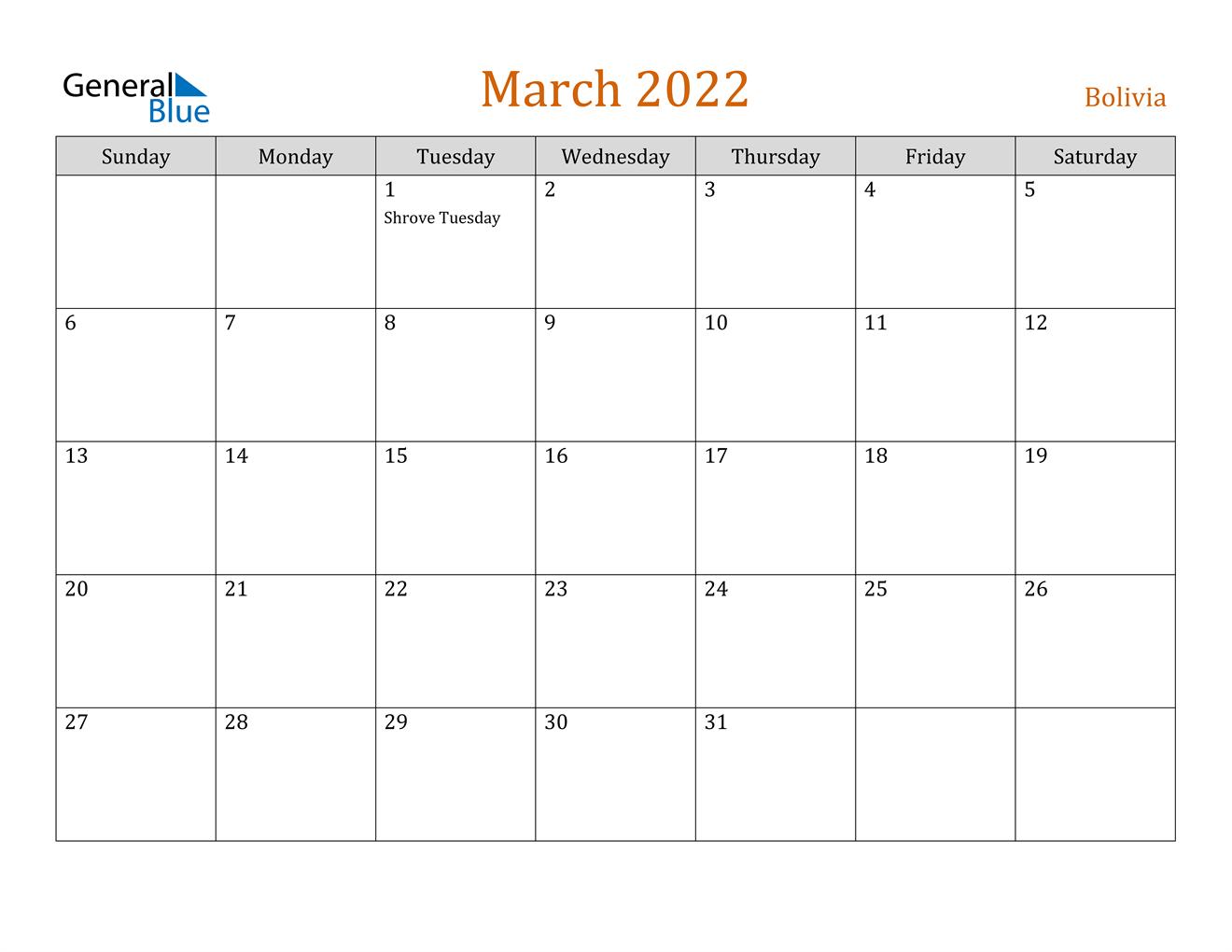 March 2022 Calendar - Bolivia