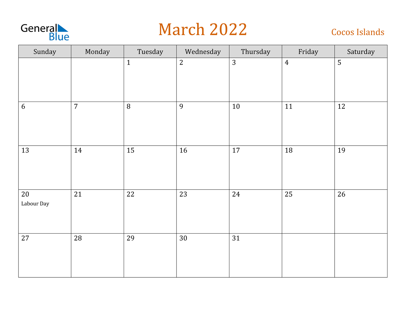 March 2022 Calendar - Cocos Islands