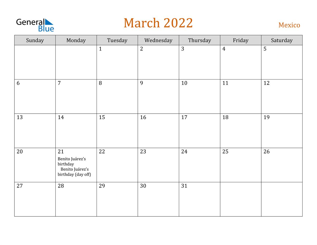 March 2022 Calendar - Mexico