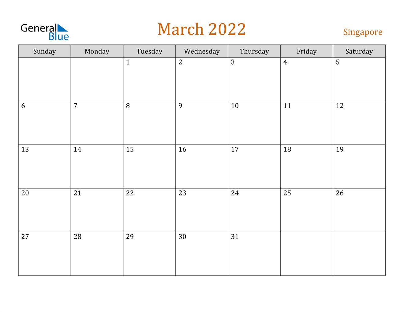 March 2022 Calendar - Singapore