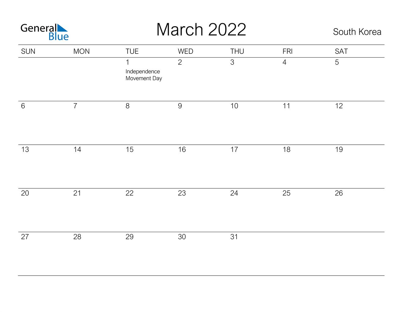 March 2022 Calendar - South Korea