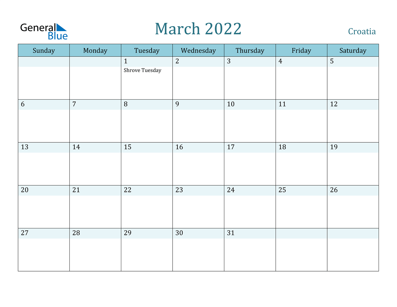 March 2022 Calendar - Croatia