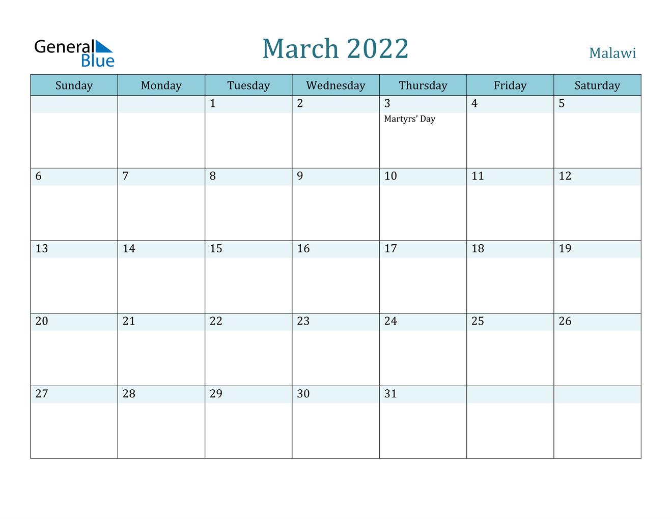 March 2022 Calendar - Malawi