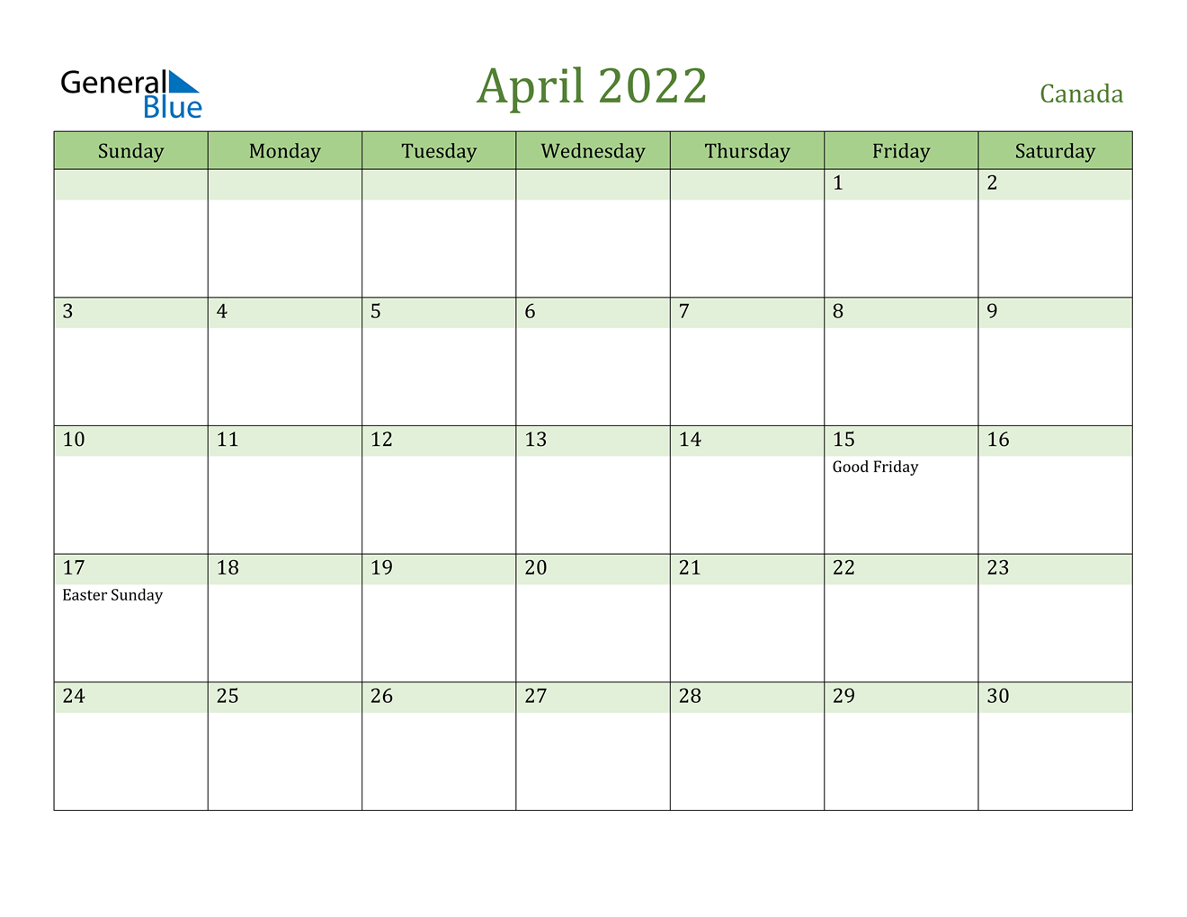 The following is a big month calendar of april 2022 with week numbers. April 2022 Calendar - Canada