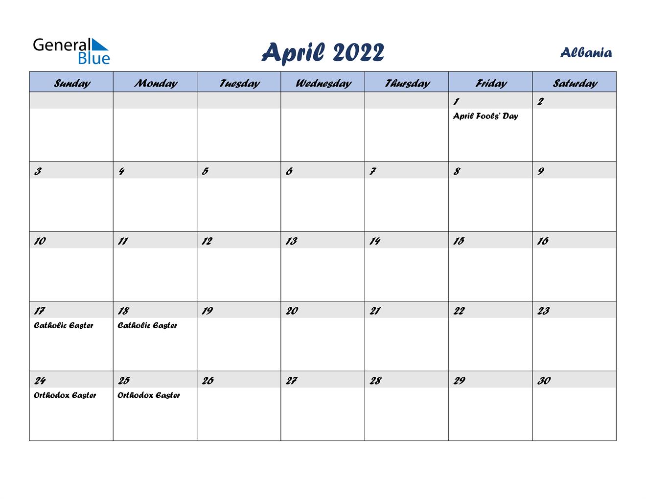 April 2022 Calendar - Albania