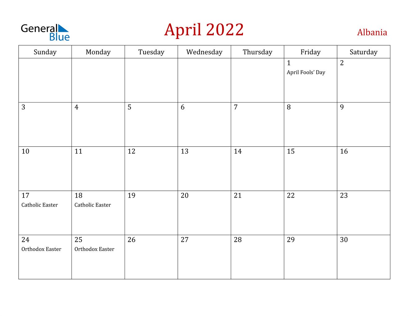 Download april 2022 calendar as html, excel xlsx, word docx, pdf or picture. April 2022 Calendar - Albania