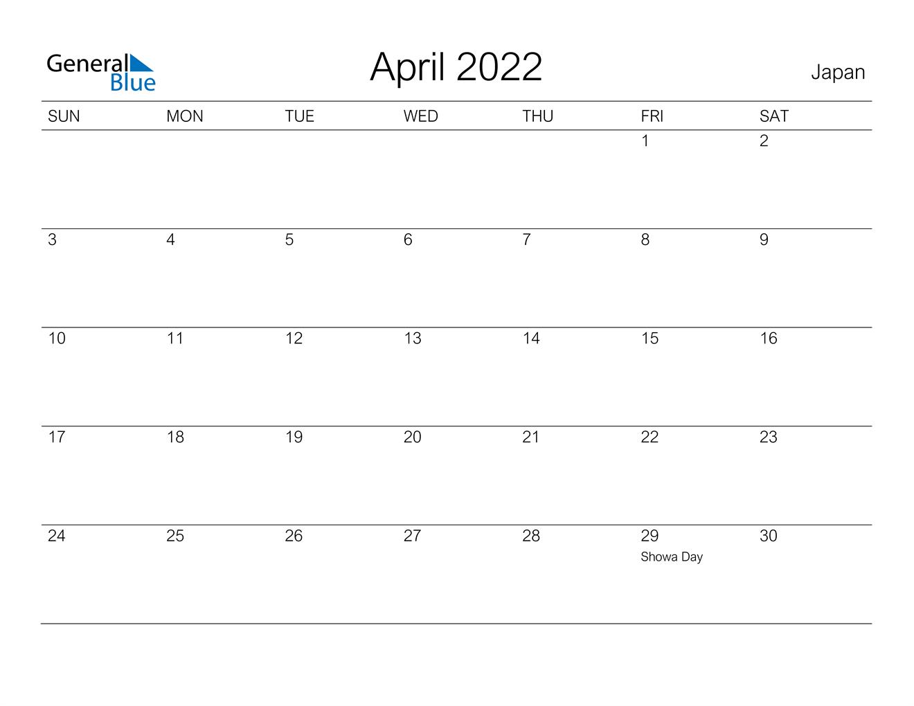April 2022 Calendar - Japan