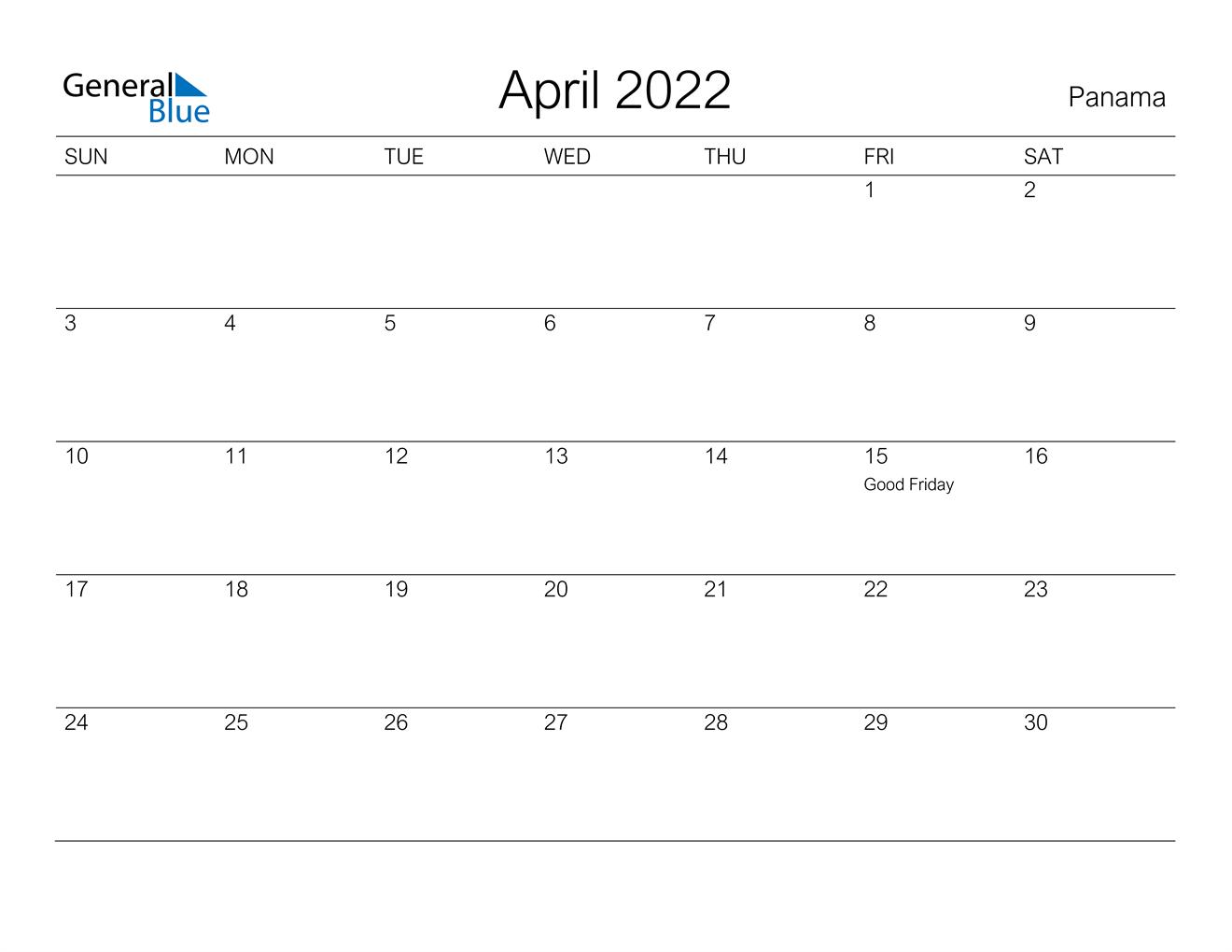 April 2022 Calendar - Panama