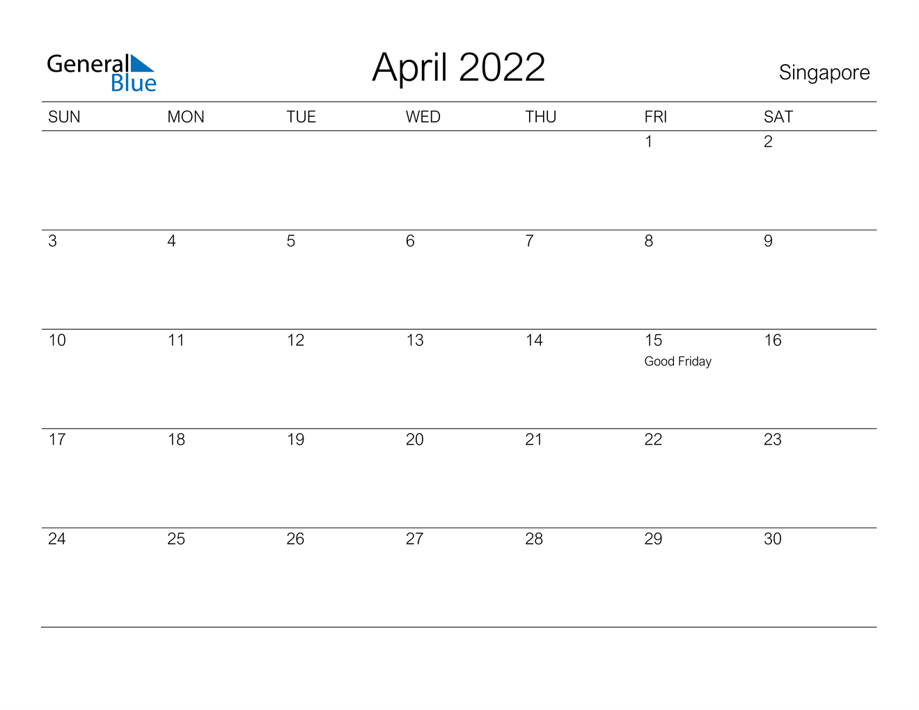 April 2022 Calendar - Singapore