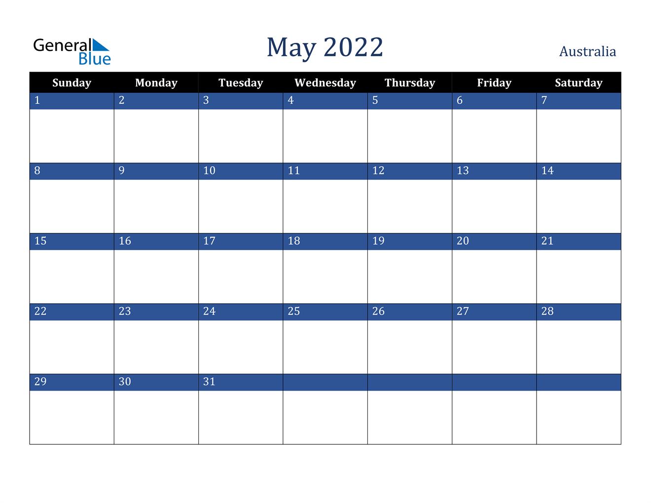 Sure, digital calendars are convenient — we can take them everyw. May 2022 Calendar - Australia