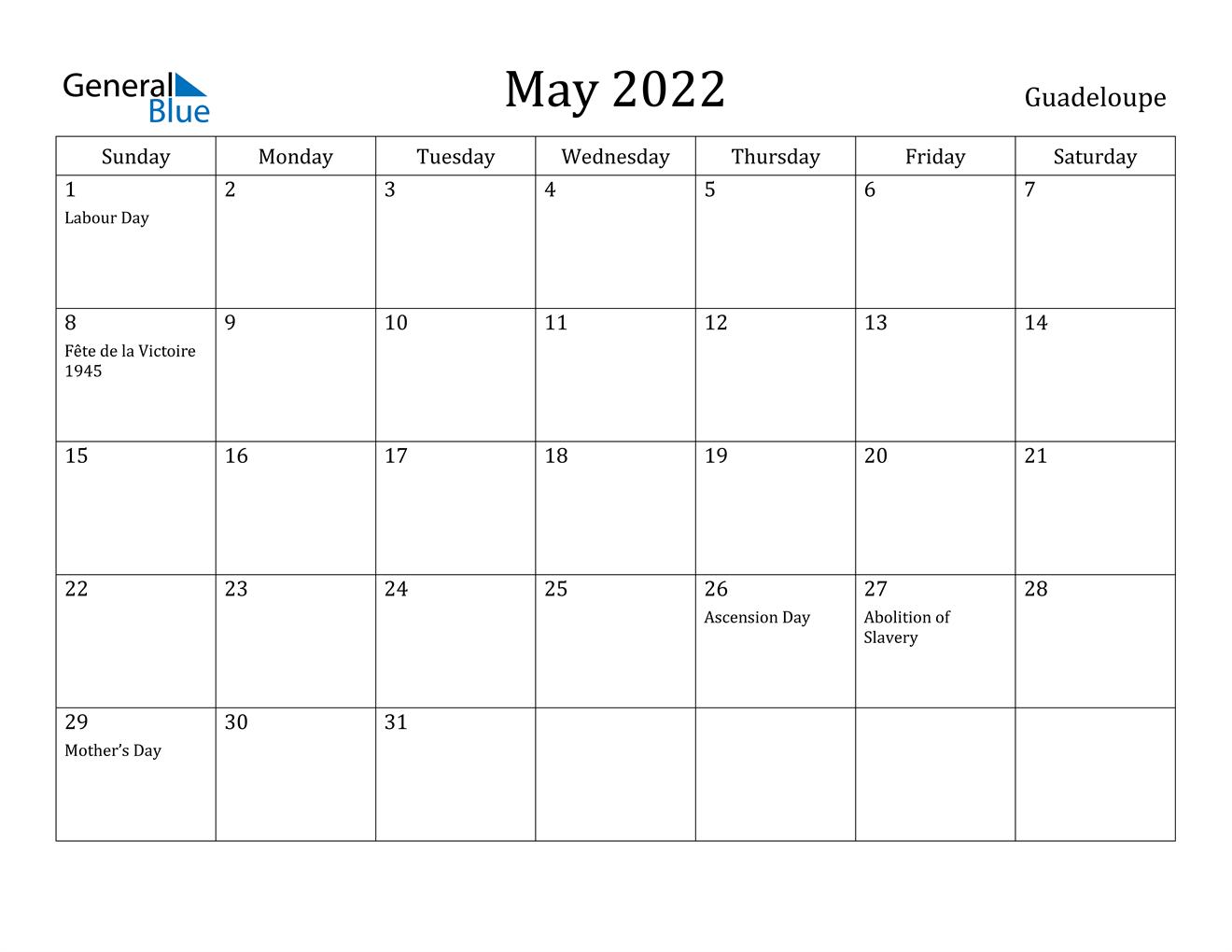 May 2022 Calendar - Guadeloupe