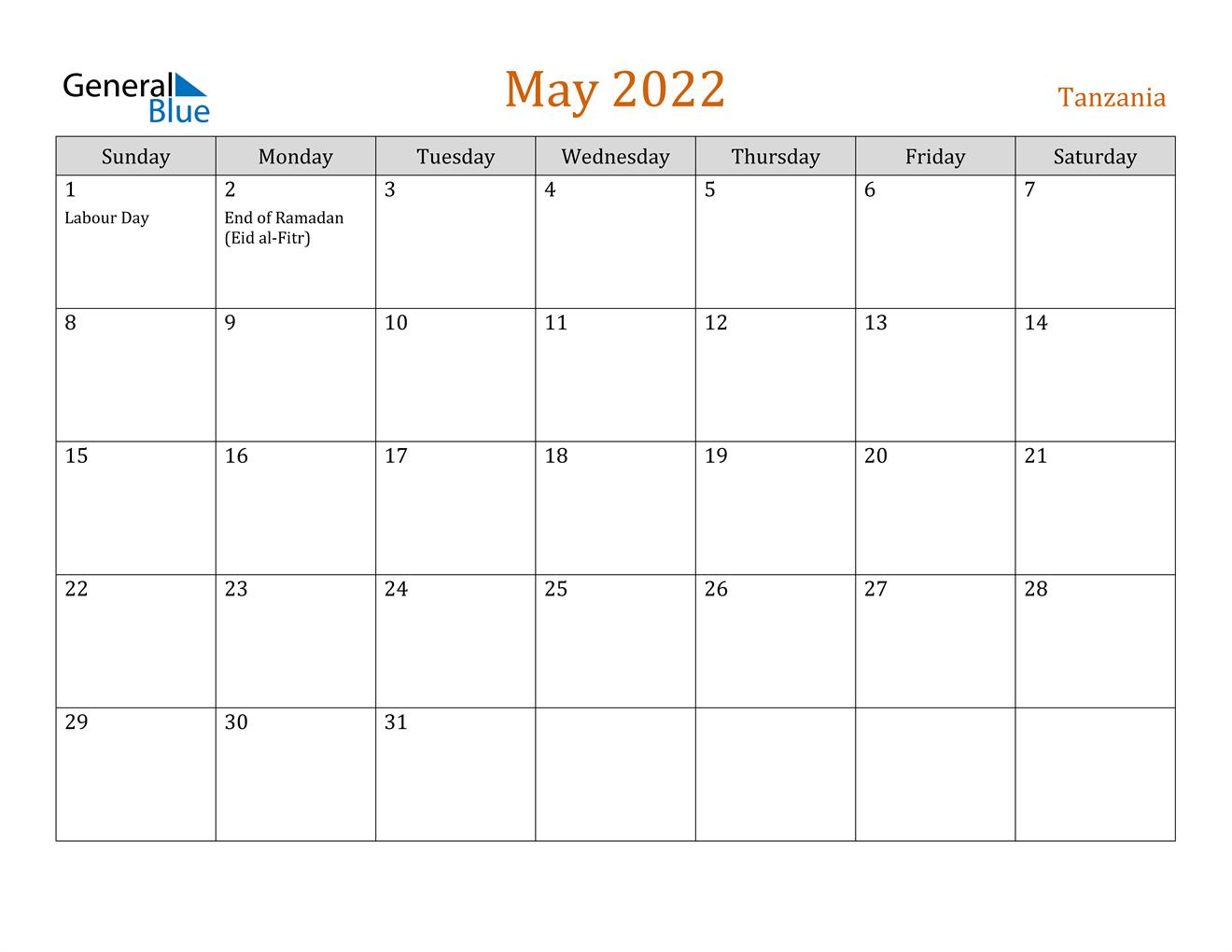 May 2022 Calendar - Tanzania