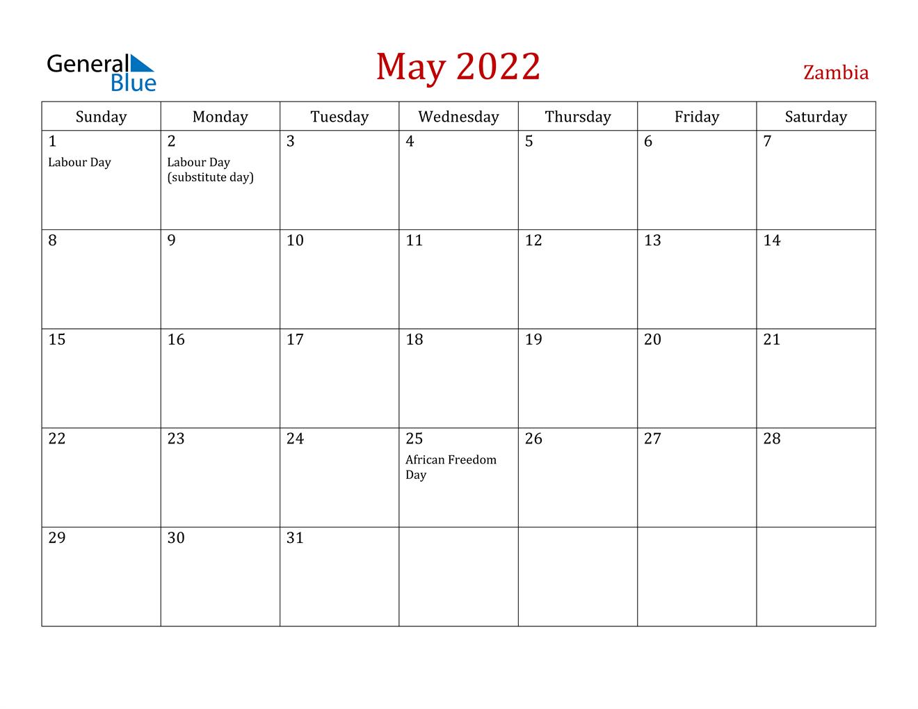 May 2022 Calendar - Zambia