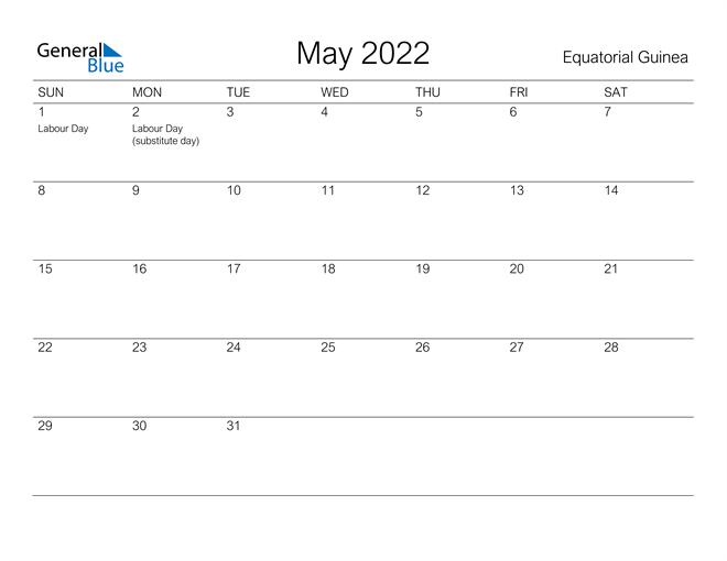 May 2022 Calendar - Equatorial Guinea