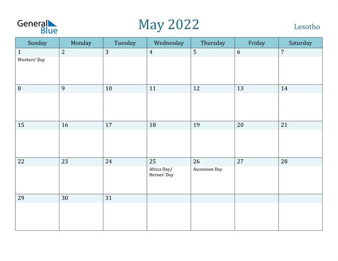 May 2022 Calendar - Lesotho