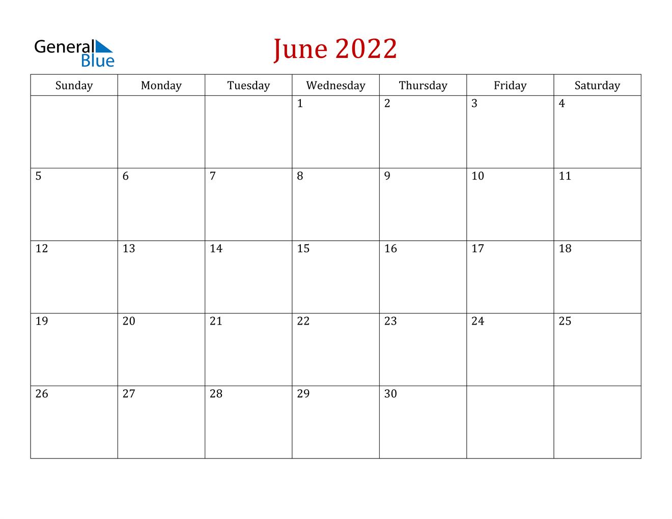 June 2022 Calendar - PDF Word Excel