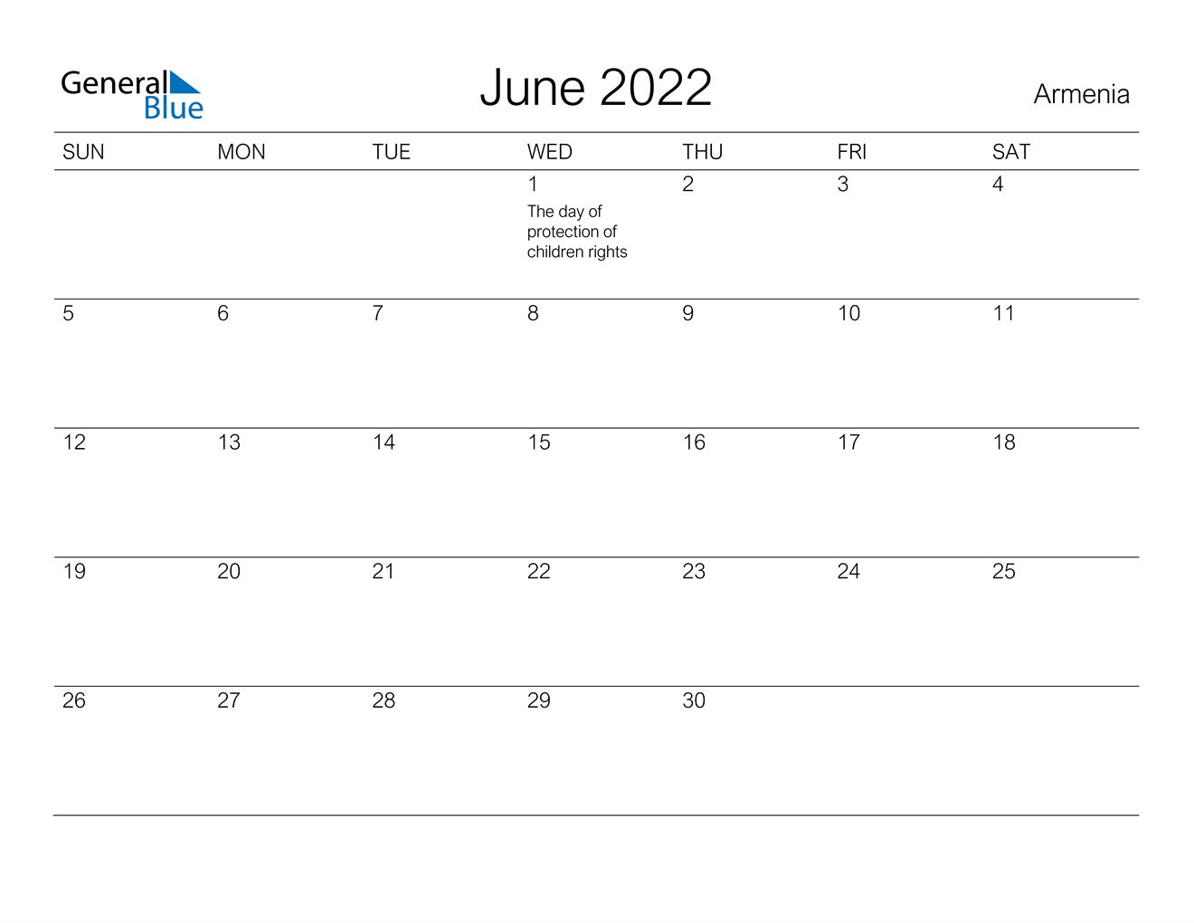 June 2022 Calendar - Armenia