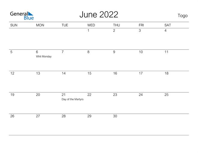 June 2022 Calendar - Togo