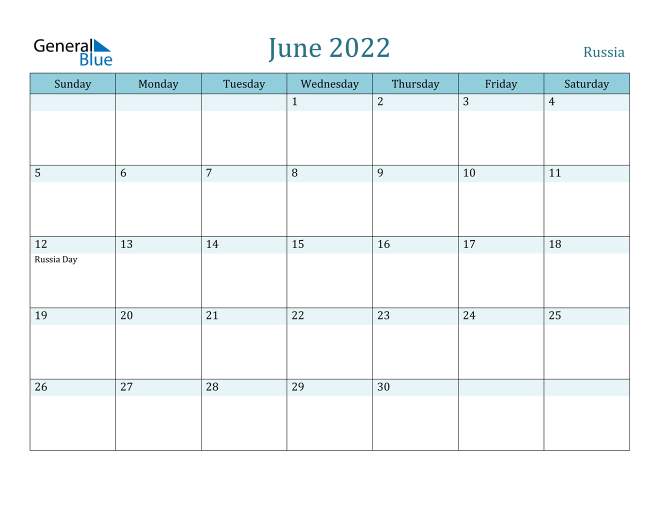 Russia June 2022 Calendar with Holidays