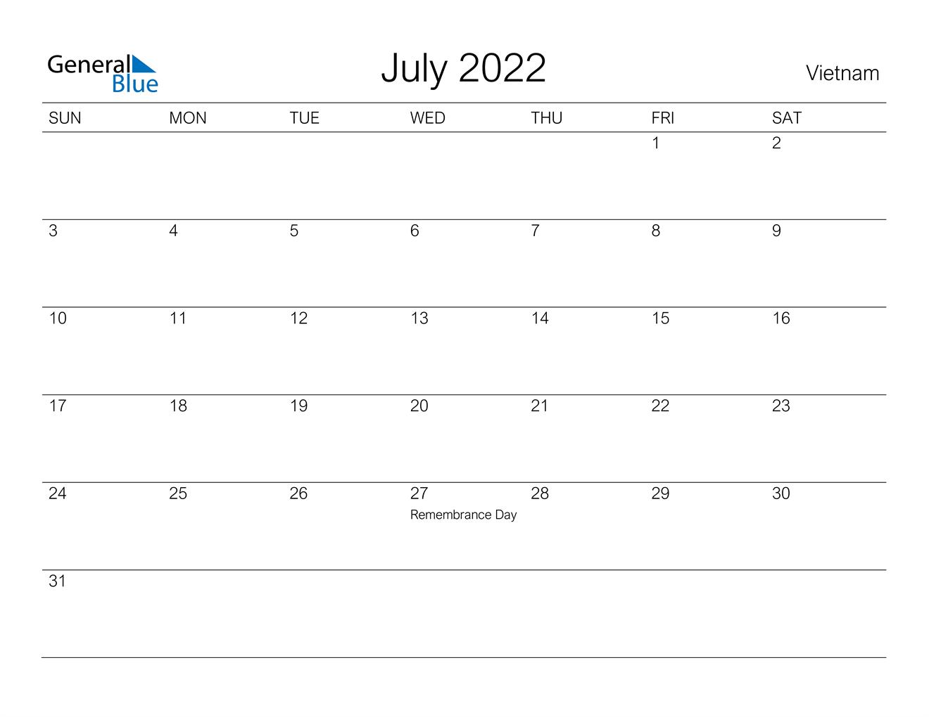 July 2022 Calendar - Vietnam