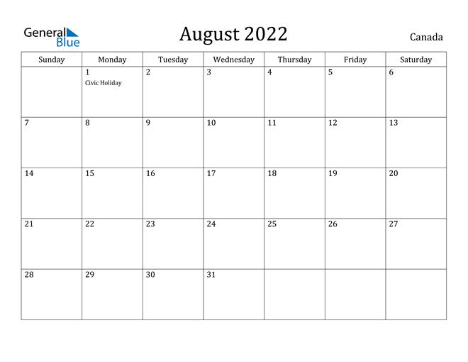 August 2022 Calendar - Canada