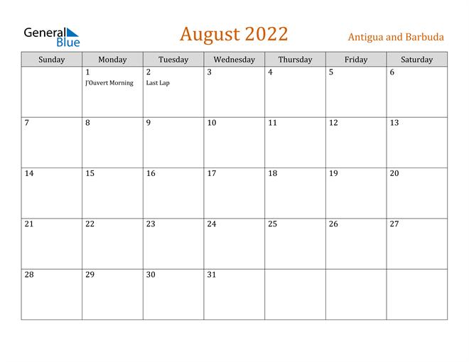 August 2022 Calendar - Antigua and Barbuda