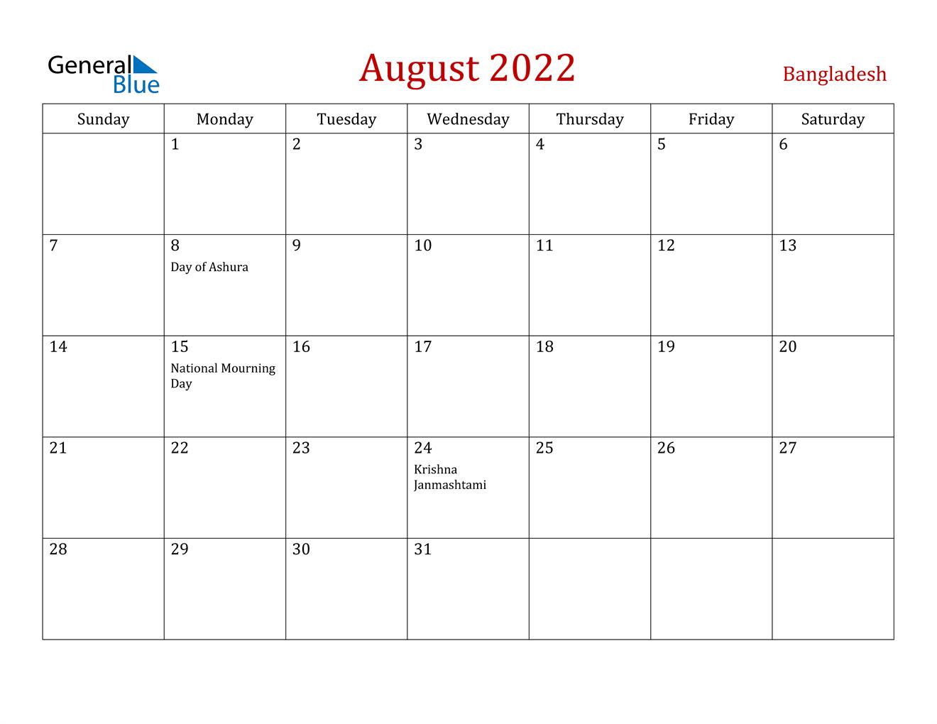 August 2022 Calendar - Bangladesh