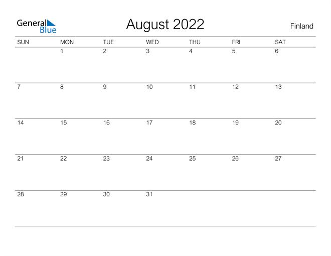 August 2022 Calendar - Finland