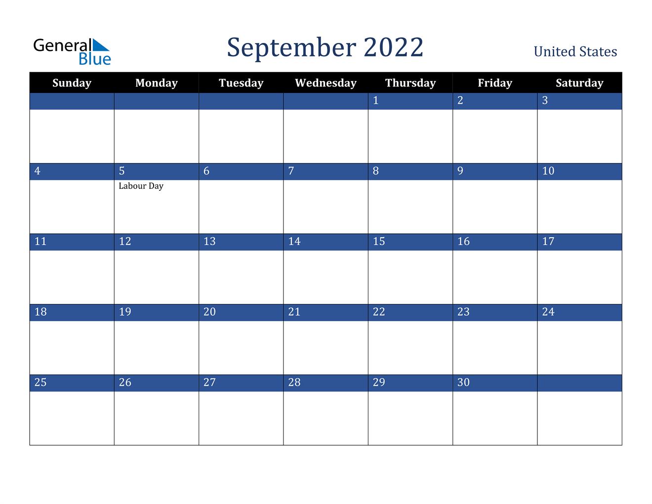 September 2022 Calendar - United States