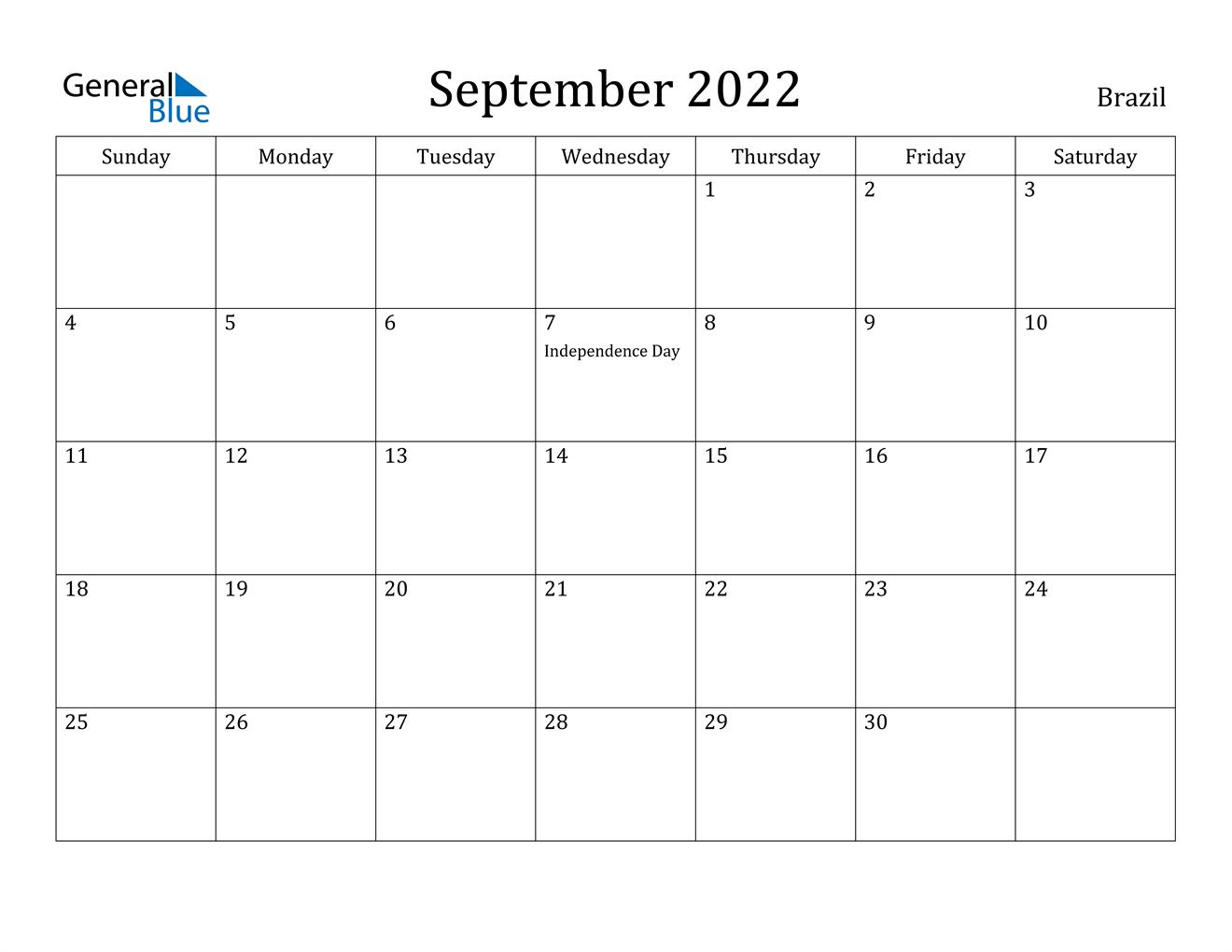 September 2022 Calendar - Brazil