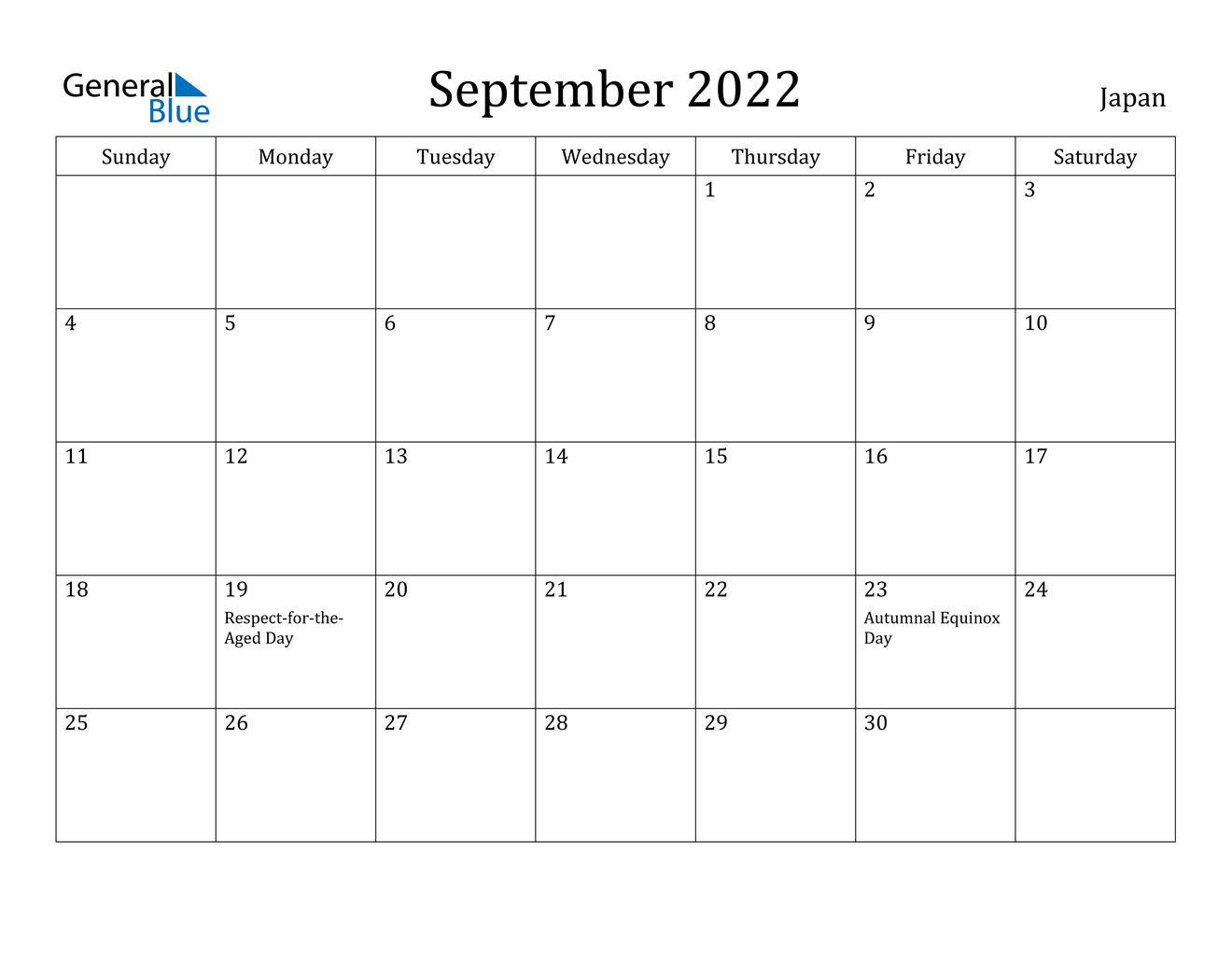 September 2022 Calendar - Japan