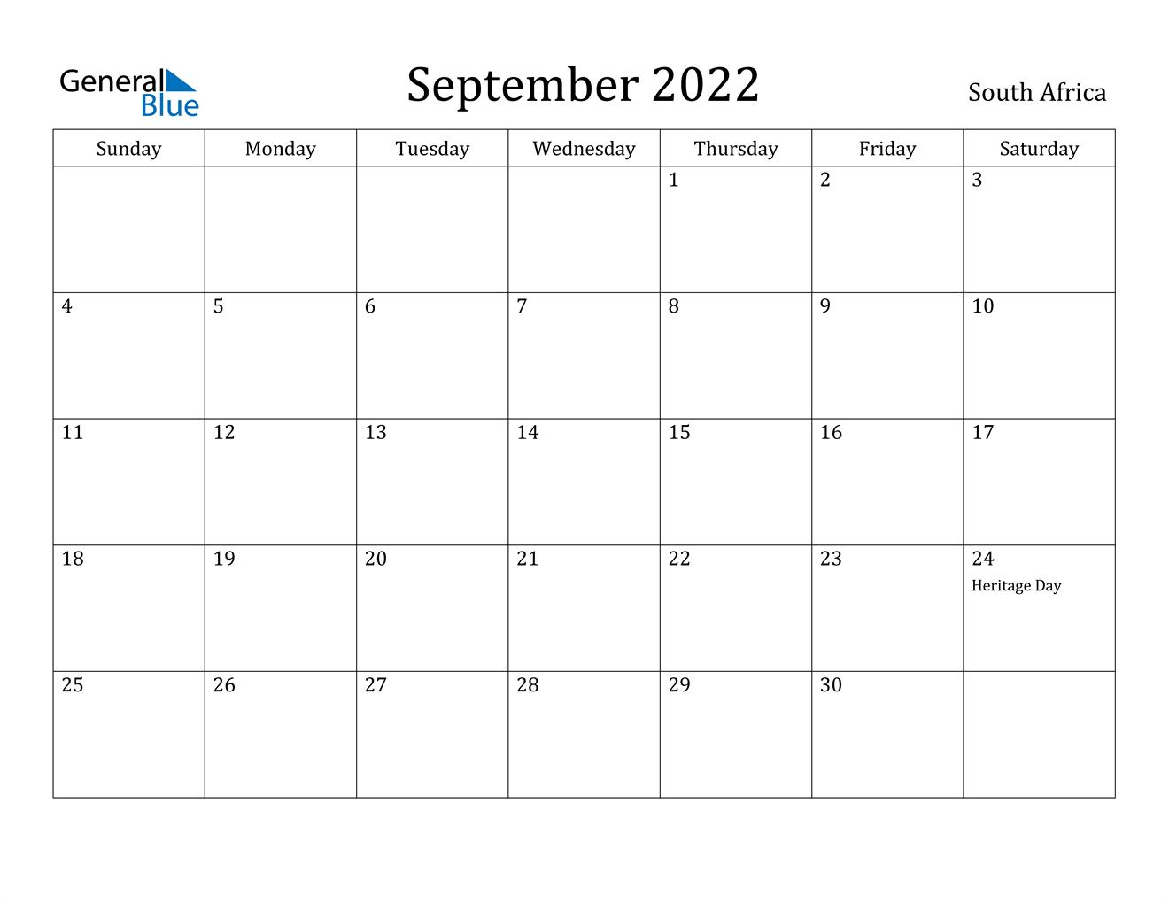September 2022 Calendar - South Africa