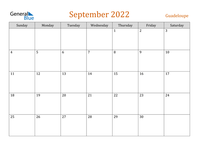 September 2022 Calendar - Guadeloupe