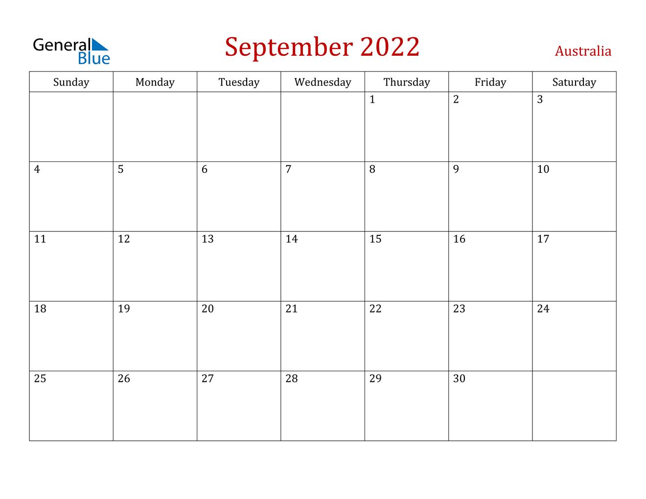 The calendar of events lists these seminars and programs. September 2022 Calendar - Australia