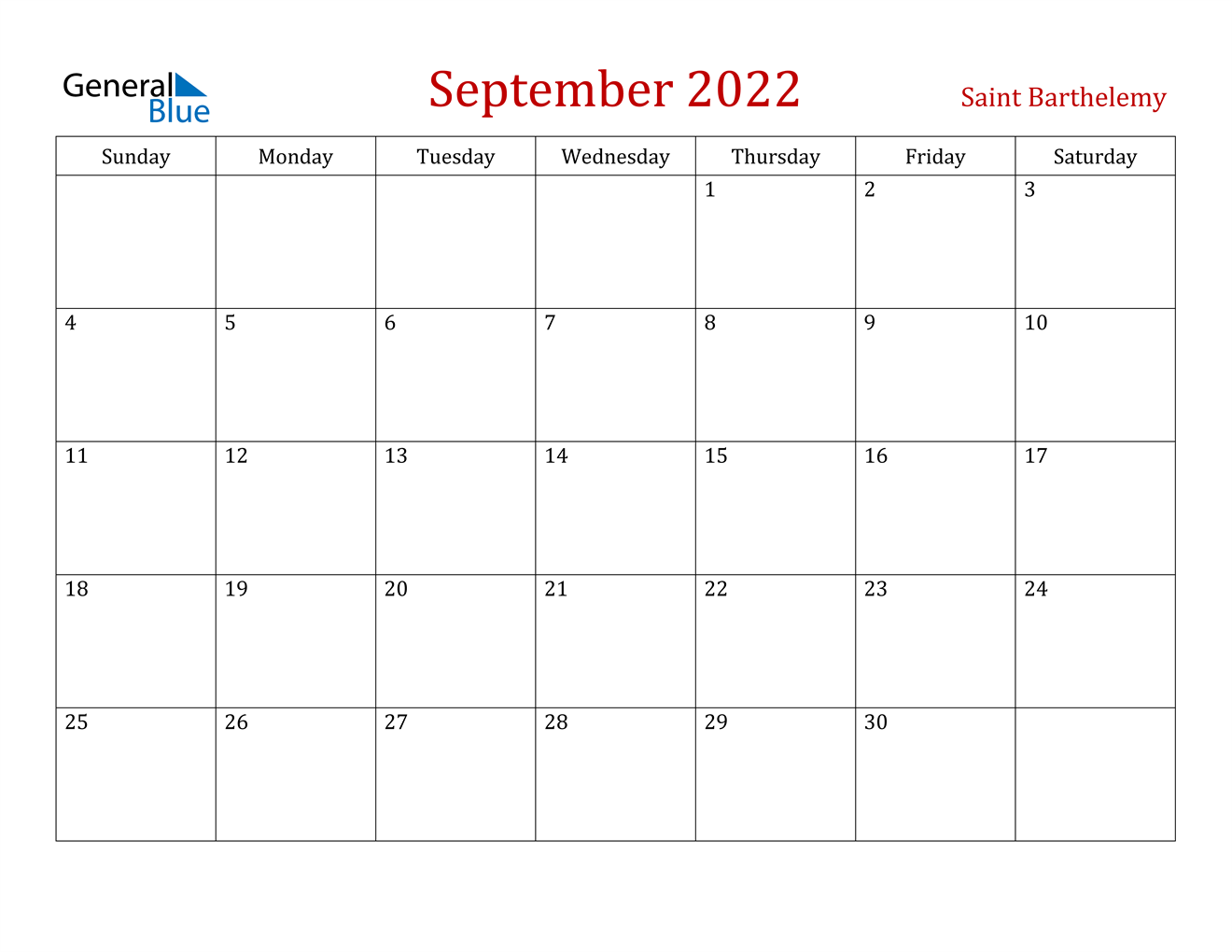Free download september 2021 calendar templates. September 2022 Calendar - Saint Barthelemy
