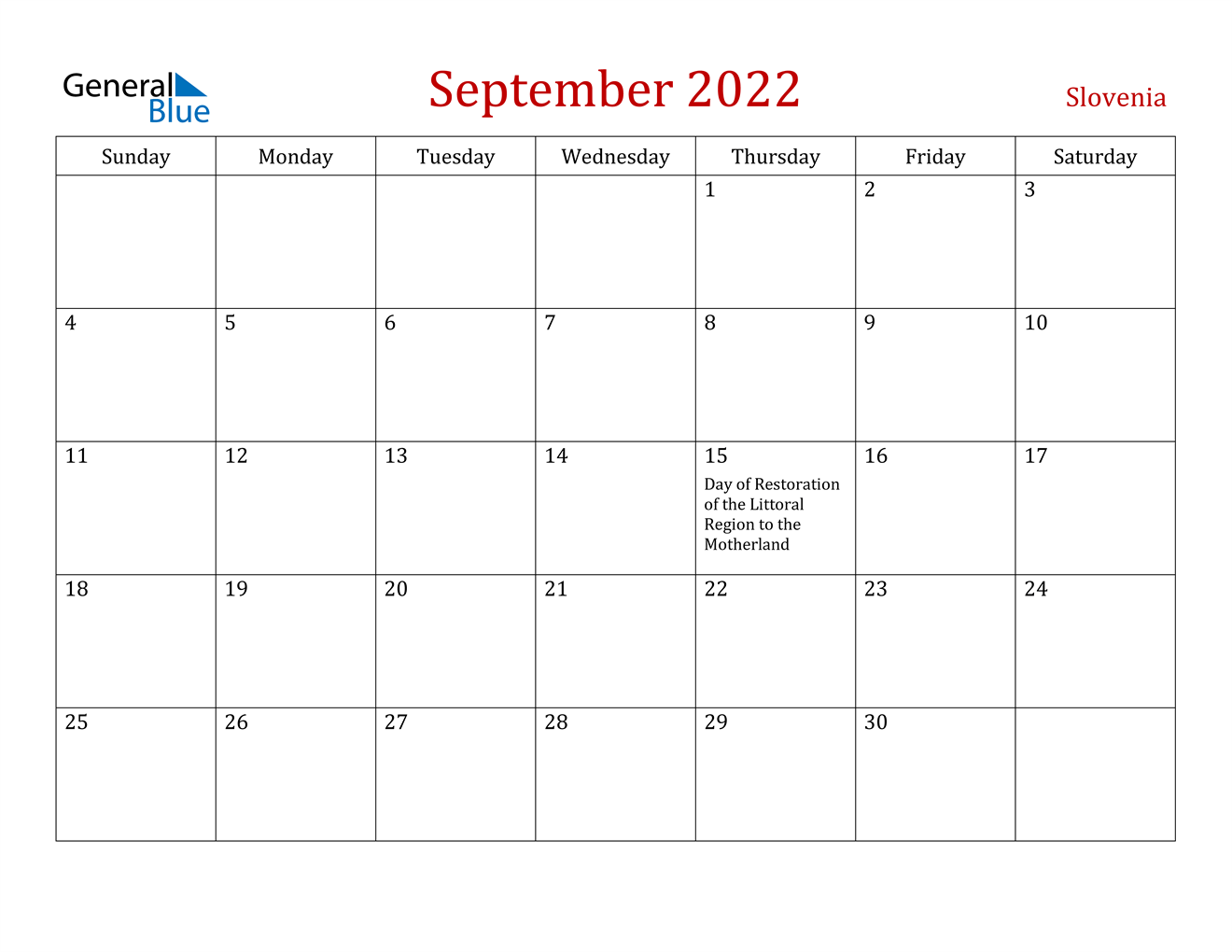 September 2022 Calendar - Slovenia
