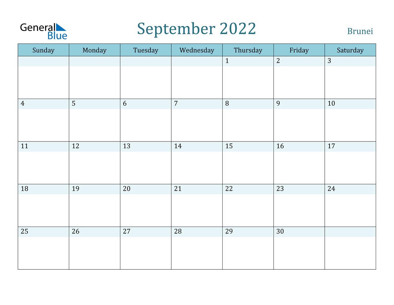 September 2022 Calendar - Brunei