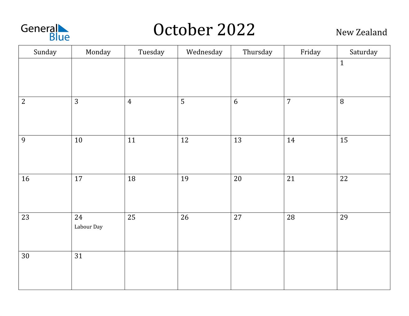 October 2022 Calendar - New Zealand