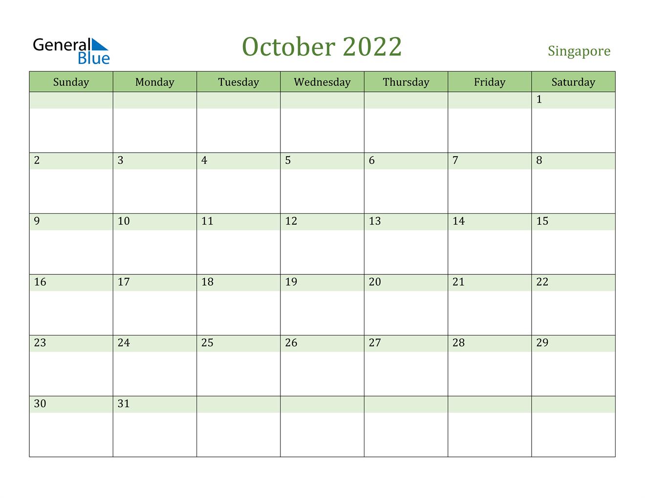 October 2022 Calendar - Singapore