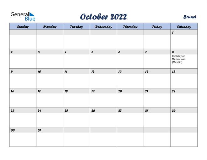 October 2022 Calendar - Brunei