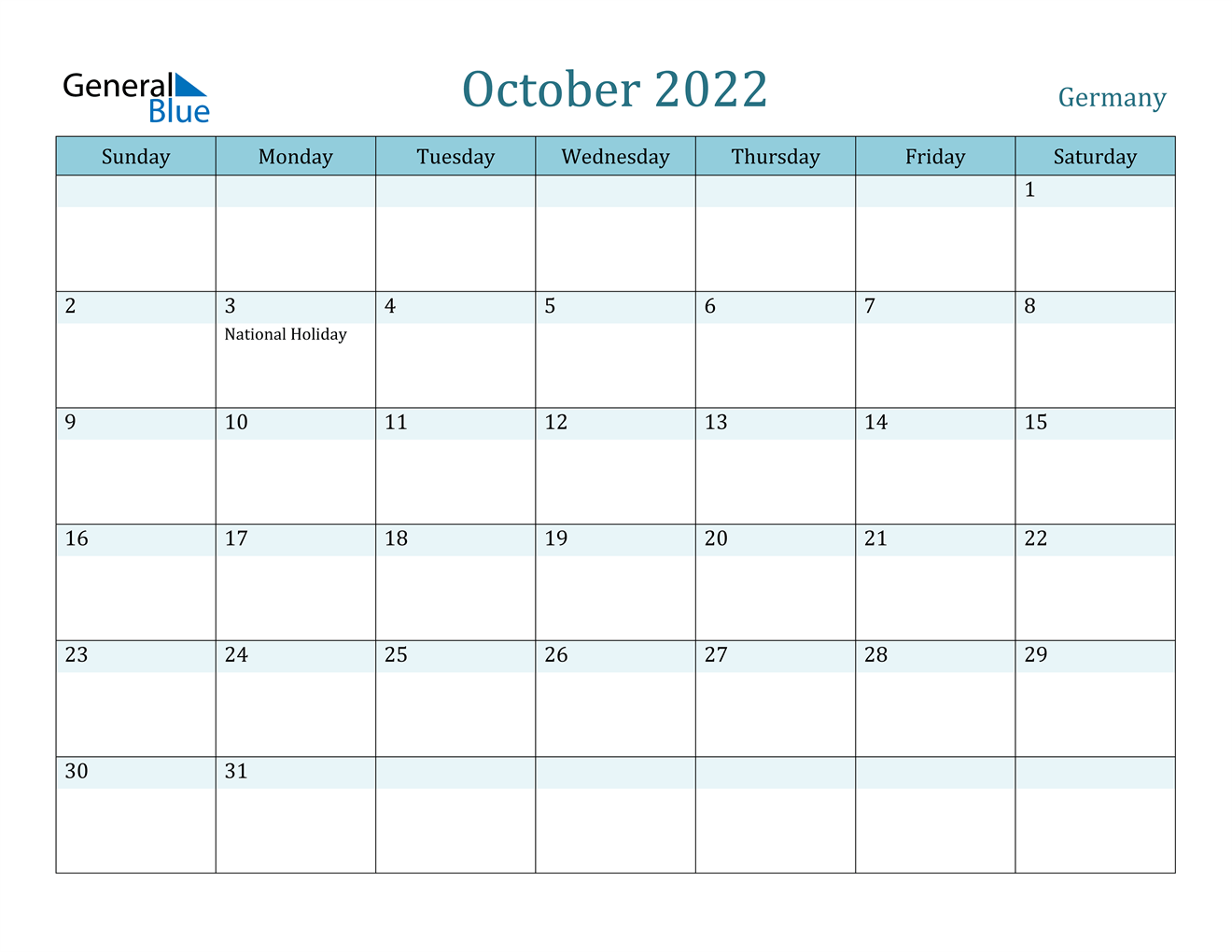 October 2022 Calendar - Germany