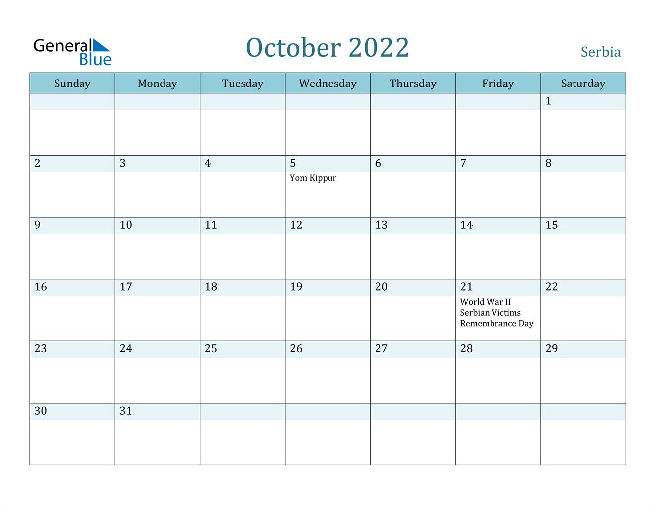 October 2022 Calendar - Serbia