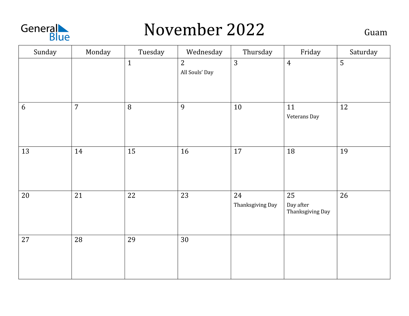It seems like everyone is busier these days, and keeping up with everything from work deadlines to kids' sports practices to your pet's vet appointments can make things complicated — there's a lot to juggle, after all. November 2022 Calendar - Guam