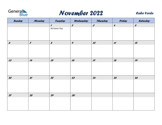 November 2022 Calendar - Cabo Verde
