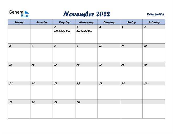 November 2022 Calendar - Venezuela