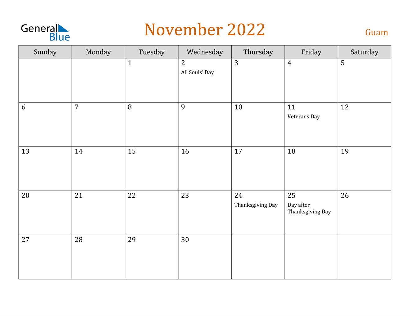 November 2022 Calendar - Guam
