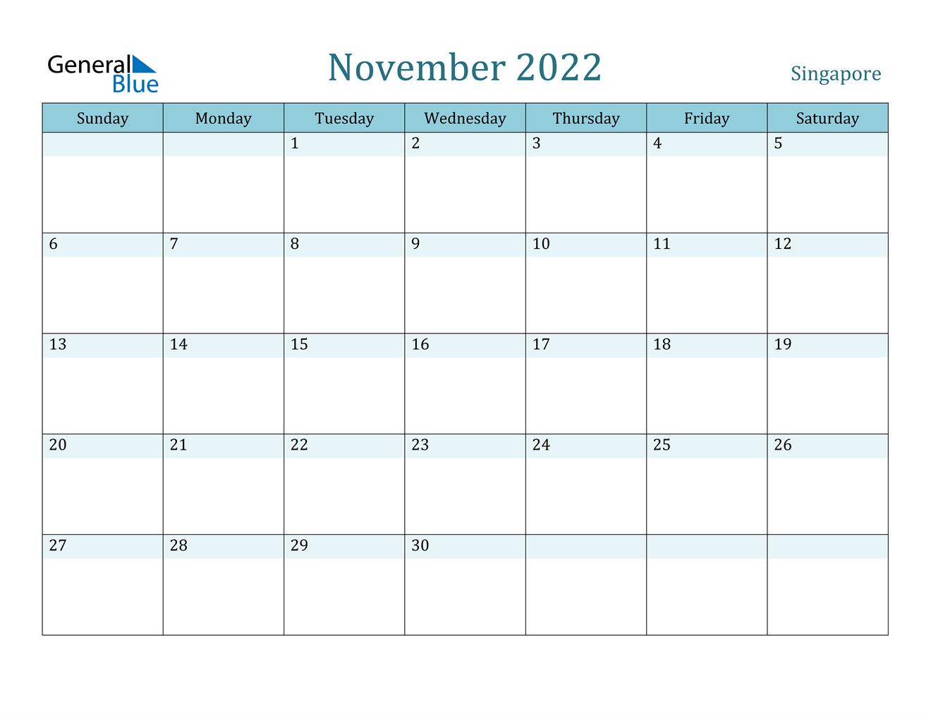 November 2022 Calendar - Singapore
