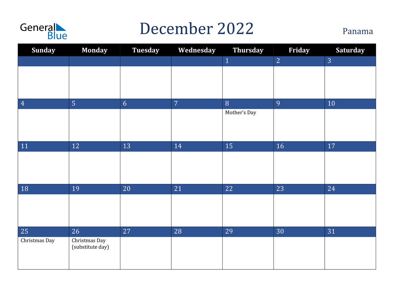 December 2022 Calendar - Panama