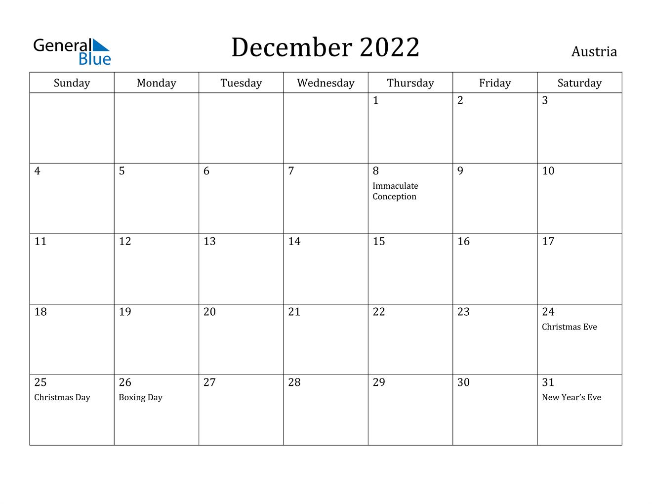 December 2022 Calendar - Austria