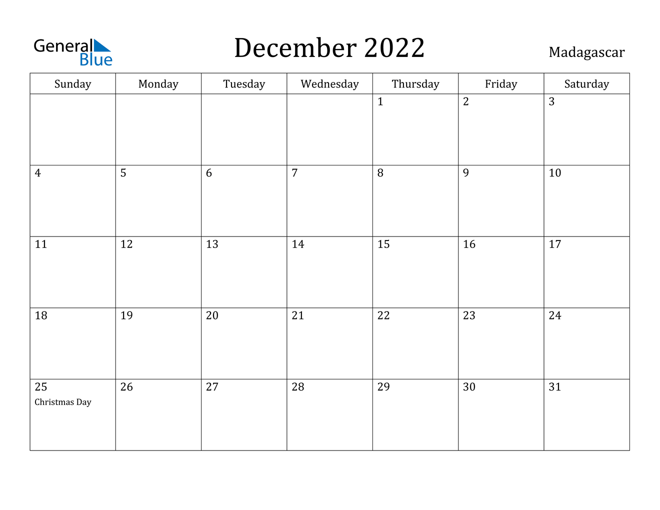 December 2022 Calendar - Madagascar
